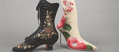 Schnürstiefelette, François Pinet, Paris, um 1870/75 und Stiletto-Stiefelette, Alexander McQueen, London, 2019 © DLM, M. Özkilinc
