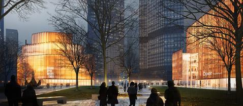 Visualisierung Oper und Schauspiel am Willy Brandt Platz © gmp Architekten